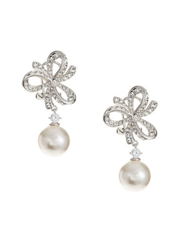 Nadri 10MM White Pearl Marion Bow Dangling Earrings-WHITE-One Size