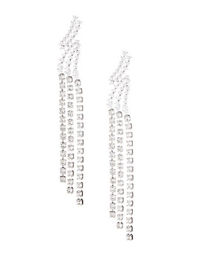 Nadri Bypass Fringe Drop Earrings-SILVER-One Size
