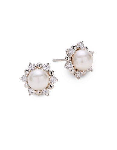 Nadri Faux Pearl Studded Earrings-SILVER-One Size