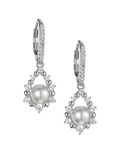 Nadri Faux Pearl Drop Earrings-SILVER-One Size