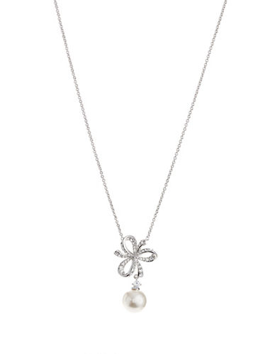 Nadri 10MM White Pearl Marion Bow Chain Pendant Necklace-WHITE-One Size