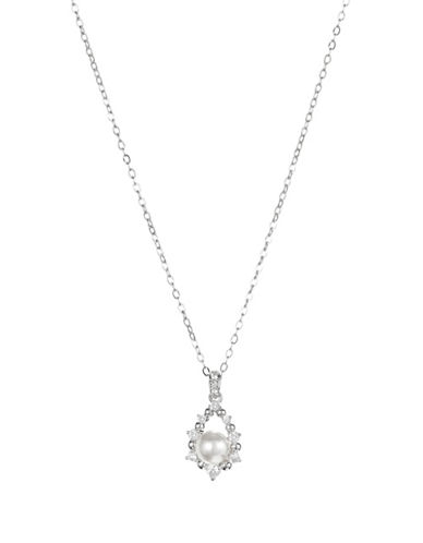 Nadri Faux Pearl Drop Necklace-SILVER-One Size