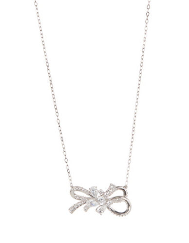 Nadri Bow Crystal Pendant Necklace-SILVER-One Size