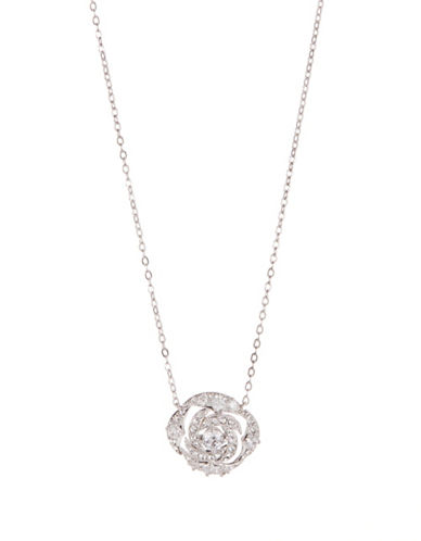Nadri Rose Crystal Pendant Necklace-SILVER-One Size