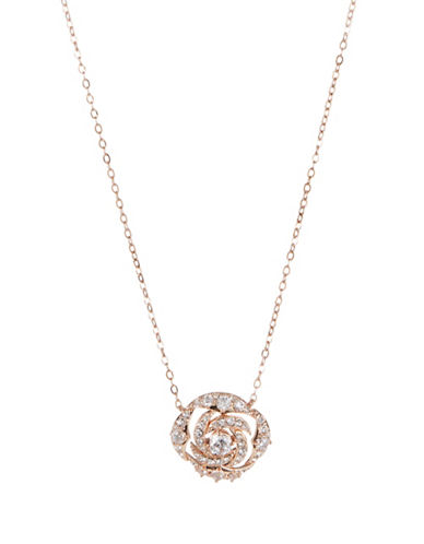 Nadri Rose-Goldtone Floral Disc Pendant Necklace-ROSE GOLD-One Size