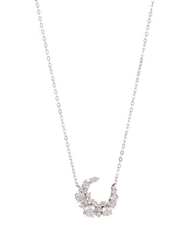 Nadri Crescent Crystal Pendant Necklace-SILVER-One Size