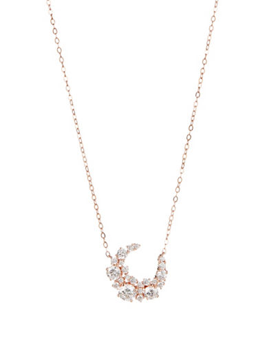 Nadri Crescent Crystal Pendant Necklace-ROSE GOLD-One Size