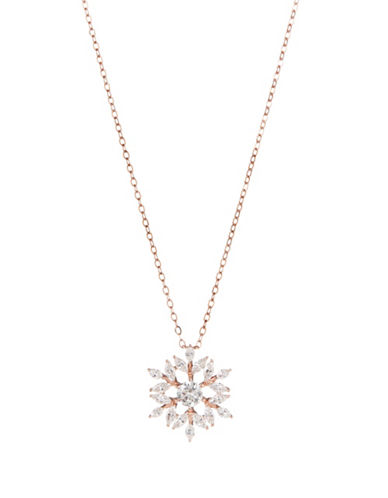 Nadri Snowflake Crystal Pendant Necklace-ROSE GOLD-One Size