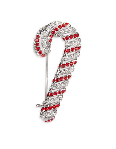 Nadri Jolly Candy Cane Pin-SILVER-One Size