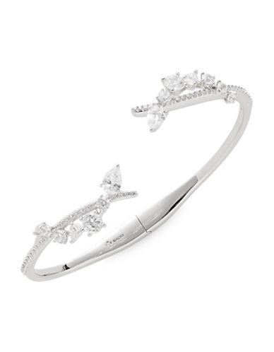 Nadri Crystal Center Hinge Bracelet-SILVER-One Size