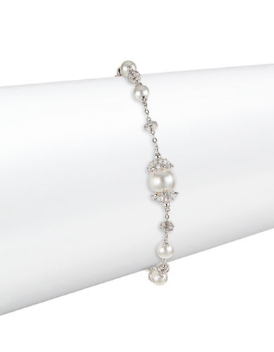 Nadri Mare Faux Pearl and Crystal Line Bracelet-SILVER-One Size
