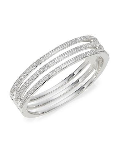 Nadri Crystal Open Side Hinged Bracelet-SILVER-One Size