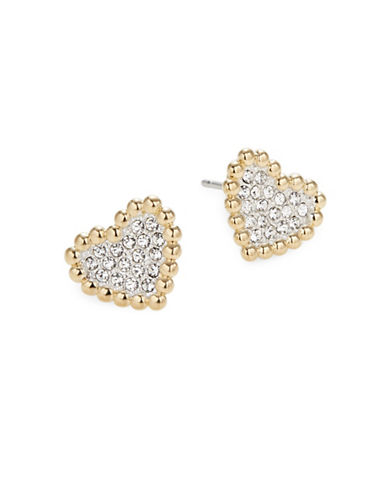 Nadri Valentines Day Pave Crystal Heart Earrings-GOLD-One Size