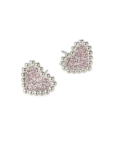 Nadri Valentines Day Pave Crystal Heart Earrings-SILVER-One Size