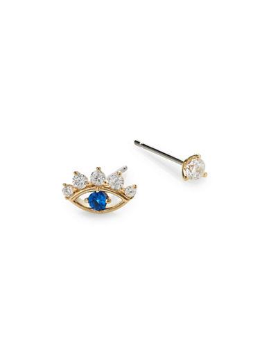 Nadri Asymmetrical Evil Eye Earrings-GOLD-One Size