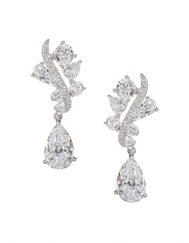 Nadri Crystal Dangling Earrings-SILVER-One Size
