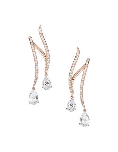 Nadri Crystal Double Drop Earrings-GOLD-One Size