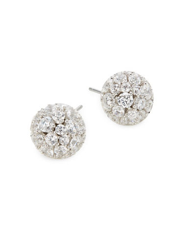 Nadri Mare Pave Crystal Ball Earrings-SILVER-One Size