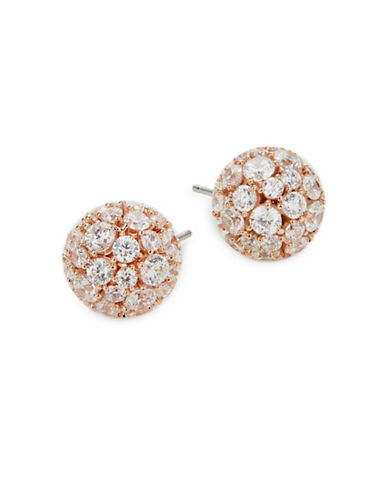 Nadri Mare Pave Crystal Ball Earrings-ROSE GOLD-One Size