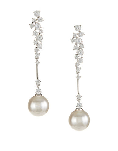 Nadri Mare Faux Pearl and Crystal Linear Earrings-SILVER-One Size