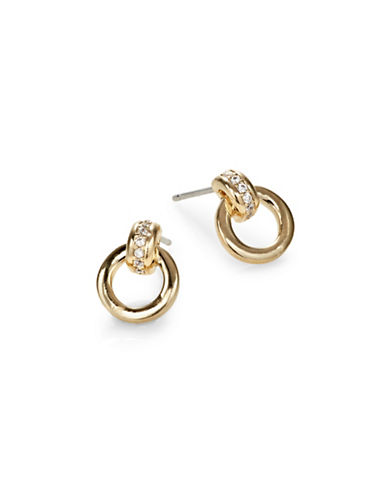 Nadri Crystal Door Knocker Stud Earrings-GOLD-One Size