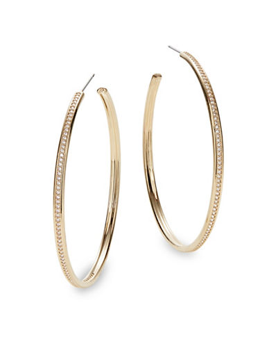 Nadri Railed Pave Crystal Hoop Earrings-GOLD-One Size