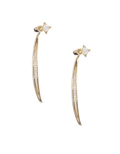 Nadri Crystal Linear Front-Back Earrings-GOLD-One Size