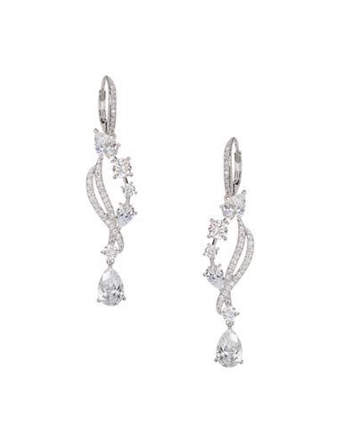 Nadri Crystal Teardrop Earrings-SILVER-One Size