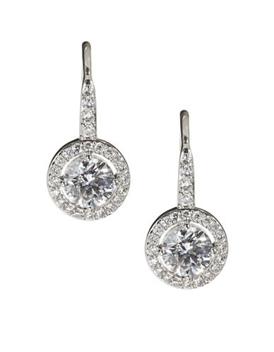 Nadri Framed Crystal Lobe Earrings-SILVER-One Size
