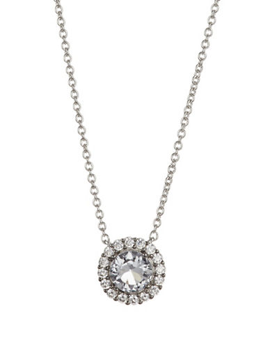 Nadri Crystal Framed Pendant Necklace-SILVER-One Size