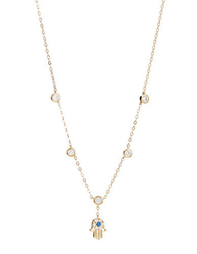 Nadri Crystal Fortune Hamsa Necklace-GOLD-One Size