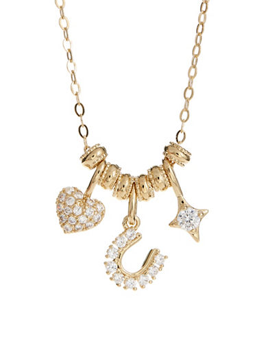 Nadri Crystal Fortune Charm Necklace-GOLD-One Size