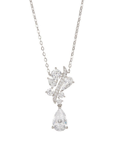 Nadri Crystal Teardrop Pendant Necklace-SILVER-One Size