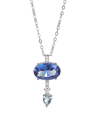 Nadri Crystal Pendant Necklace-SILVER-One Size