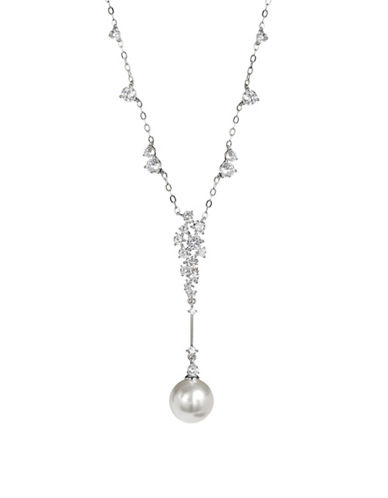 Nadri Mare Pearl and Crystal Y-Necklace-SILVER-One Size