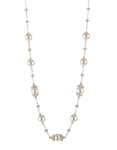 Nadri Mare Faux Pearl and Crystal Choker-SILVER-One Size