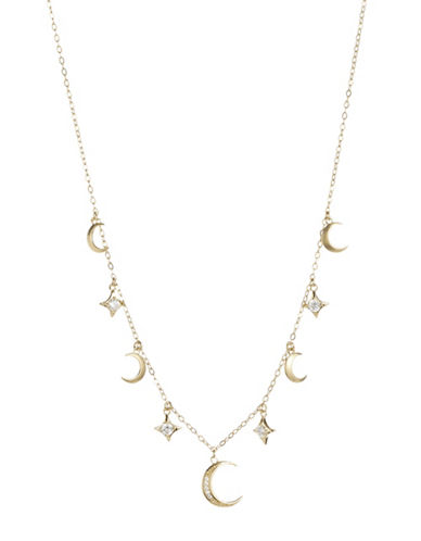 Nadri Crystal Charm Necklace-GOLD-One Size