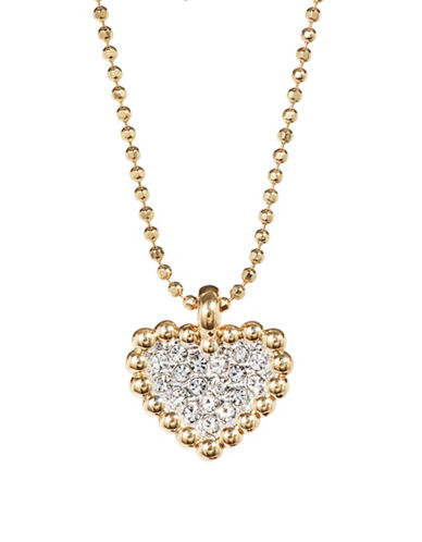 Nadri Valentines Day Pave Crystal Heart Pendant Necklace-GOLD-One Size
