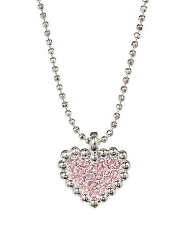 Nadri Valentines Day Pave Crystal Heart Pendant Necklace-SILVER-One Size