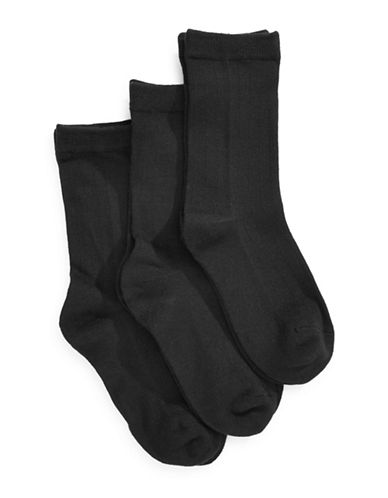 Jack & Jill 3 Pack Dress Socks-BLACK-Medium/Large