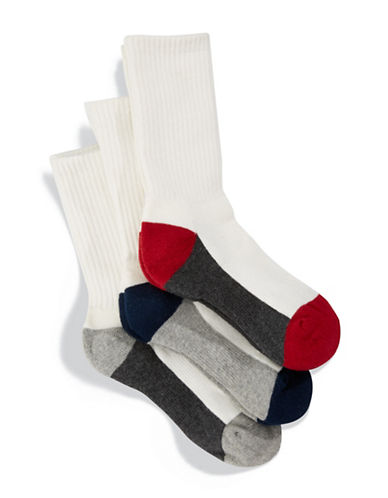 Jack & Jill 3 Pack Colourblocked Crew Socks-WHITE-Small/Medium