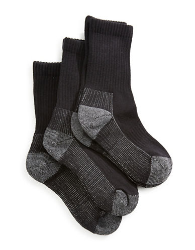 Jack & Jill 3 Pack Sport Crew Socks-BLACK-Medium/Large
