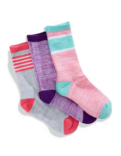 Jack & Jill 3 Pack Fashion Crew Socks-ASSORTED-Small/Medium