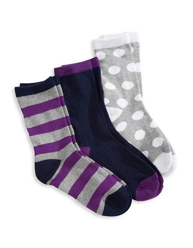 Jack & Jill 3 Pack Fashion Crew Socks-ASSORTED-Medium/Large