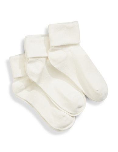 Jack & Jill 3 Pack Triple Cuff Dress Socks-WHITE-Medium/Large