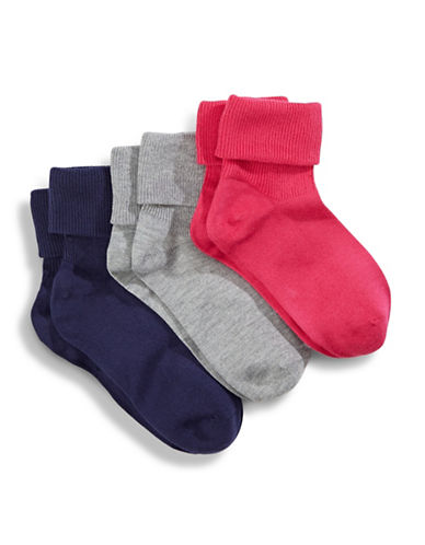 Jack & Jill 3 Pack Triple Cuff Dress Socks-ASSORTED-Medium/Large