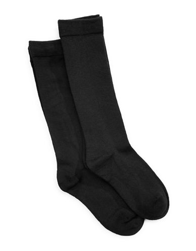 Jack & Jill 2 Pack Knee High Dress Socks-BLACK-Small/Medium