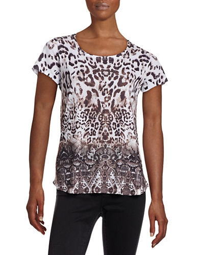 Style And Co. Petite Embellished Printed Hi-Lo Tee-MULTI-Petite Large