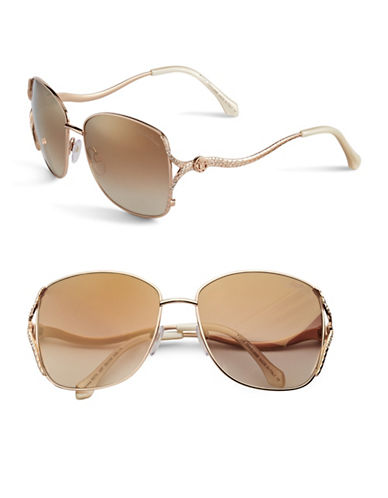 Roberto Cavalli 887S 59mm Snake Square Sunglasses-SHINY ROSE GOLD SHINY PEARL IVORY-One Size