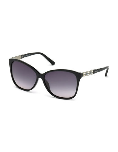 Swarovski Square Crystal Temple Sunglasses-BLACK-One Size
